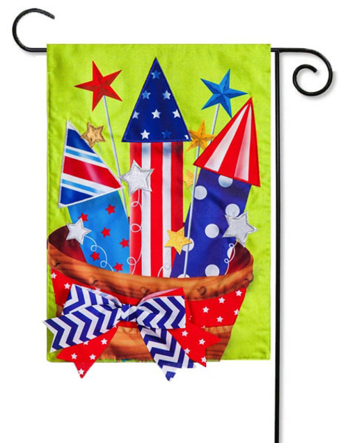 "Basket of Fireworks Burlap Garden Flag - 12.5"" x 18"" - Evergreen"