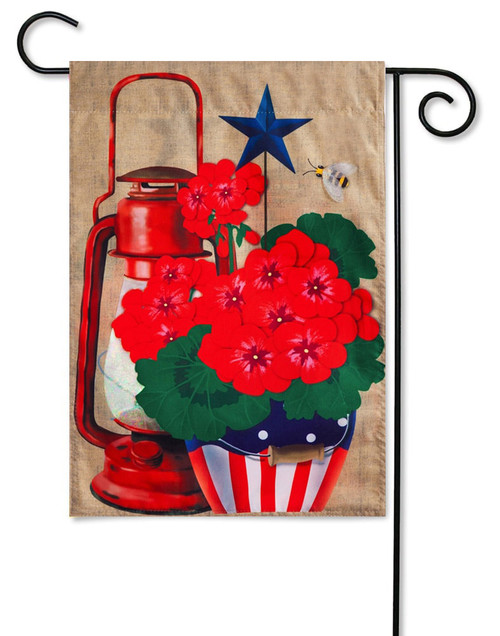 "Rustic Patriotic Pot Burlap Garden Flag - 12.5"" x 18"" - Evergreen"