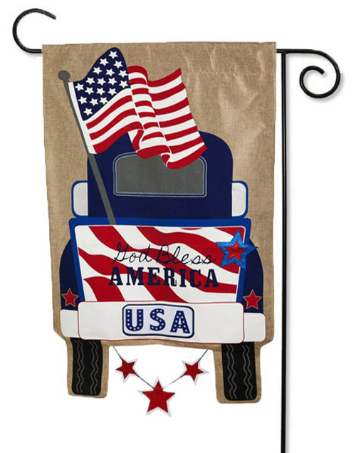 "Patriotic Pick-Up Truck Burlap Garden Flag - 12.5"" x 18"" - 2-Sided Message - Evergreen"