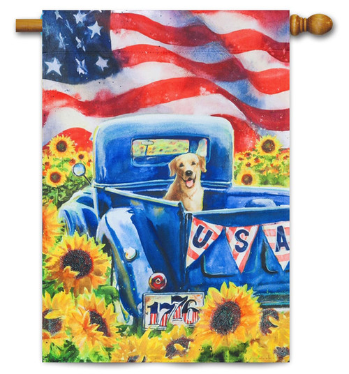 "Patriotic Truck and Dog Decorative House Flag - 29"" x 43"" - Evergreen"