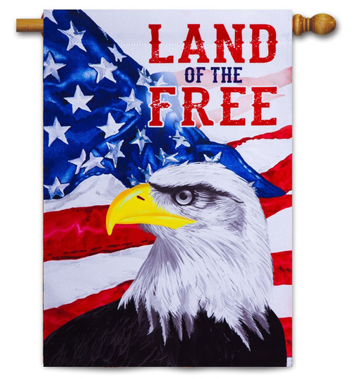 "Land of the Free Eagle Patriotic Decorative House Flag - 29"" x 43"" - 2-Sided Message - Evergreen"