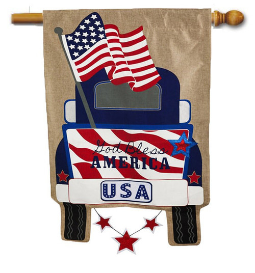 "Patriotic Pick-Up Truck Burlap House Flag - 28"" x 44"" - 2-Sided Message - Evergreen"
