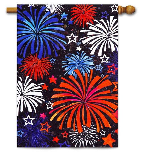 "Patriotic Fireworks Satin House Flag - 29"" x 43"" - Evergreen"