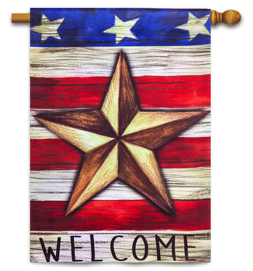 "Patriotic Barn Star Decorative House Flag - 29"" x 43"" - 2-Sided Message - Evergreen"