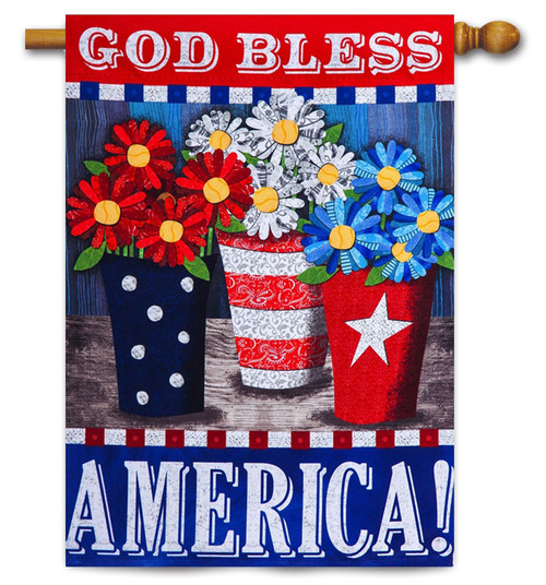 "Patriotic Flower Pots House Flag - 29"" x 43"" - 2-Sided Message - Evergreen"