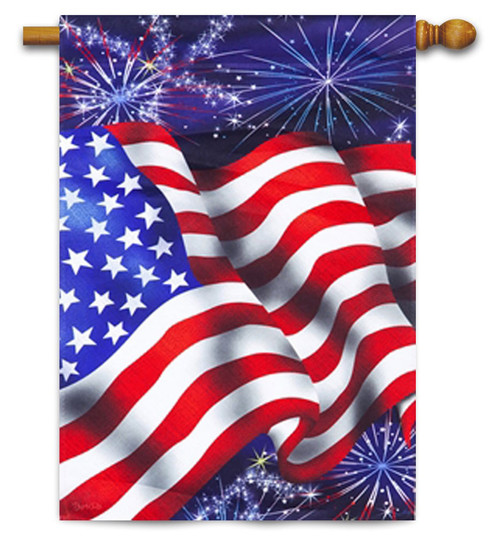 "4th of July Patriotic House Flag - 29"" x 43"" - 2-Sided Message - Evergreen"