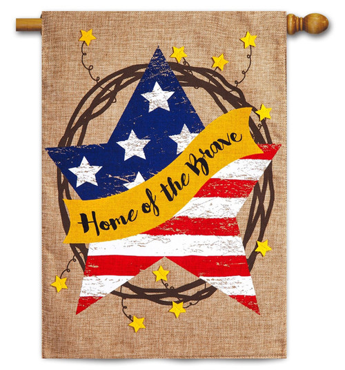"Home of the Brave Wreath Burlap House Flag - 28"" x 44"" - 2-Sided Message - Evergreen"