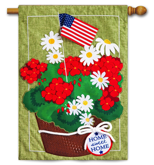 "Patriotic Basket of Flowers Linen House Flag - 27"" x 40"" - 2-Sided Message - Evergreen"
