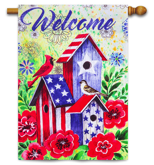 "American Patriotic Birdhouse Decorative House Flag - 29"" x 43"" - 2-Sided Message - Evergreen"