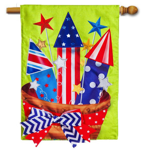 "Basket of Fireworks Burlap House Flag - 27"" x 40"" - Evergreen"