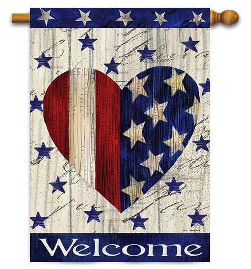 "Red & White Striped Heart Patriotic Decorative House Flag - 29"" x 43"" - 2-Sided Message - Evergreen"