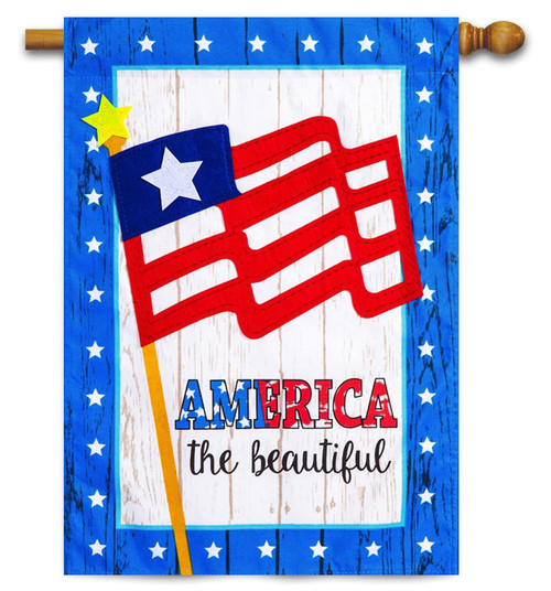"America the Beautiful Linen House Flag - 29"" x 43"" - 2-Sided Message - Evergreen"