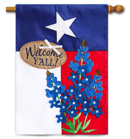 "Blue Bonnets Lone Star Applique House Flag - 28"" x 44"" - 2-Sided Message - Evergreen"