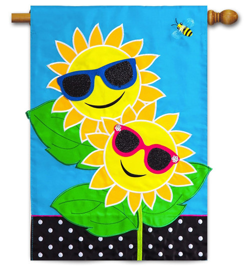 "Fancy Sunny Day Applique  House Flag - 28"" x 44"" - Evergreen"
