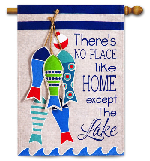 "No Place Like The Lake Burlap House Flag - 28"" x 44"" - 2-Sided Message - Evergreen"