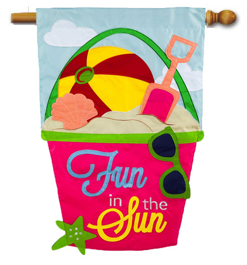 "Fun in the Sun Applique House Flag - 28"" x 44"" - 2-Sided Message - Evergreen"