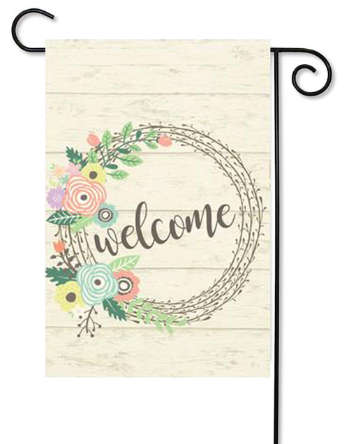"Welcome Wreath Decorative Summer Garden Flag - 12"" x 17.5"" - Second East"
