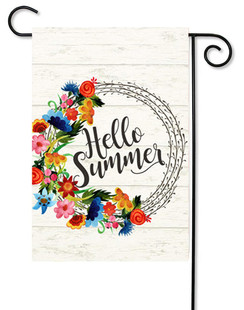 "Hello Summer Bright Decorative Garden Flag - 12"" x 17.5"" - Second East"