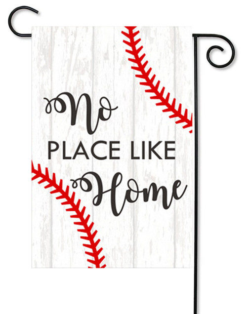 "No Place Like Home Baseball Decorative Garden Flag - 12"" x 17.5"" - Second East"