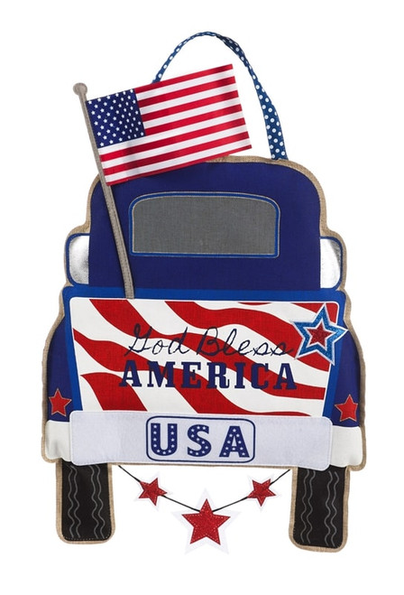 Patriotic Pick-up Truck Burlap Door Decor