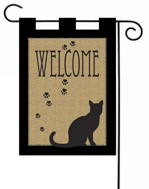 "Welcome Cat Burlap Garden Flag - 13"" x 18"" - Magnolia Lane"