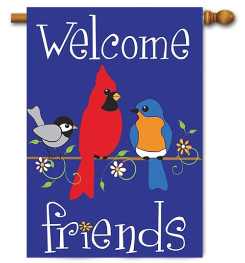 """Birds on a Limb Double Applique House Flag - 29"""" x 42"""" - Magnolia Lane"""