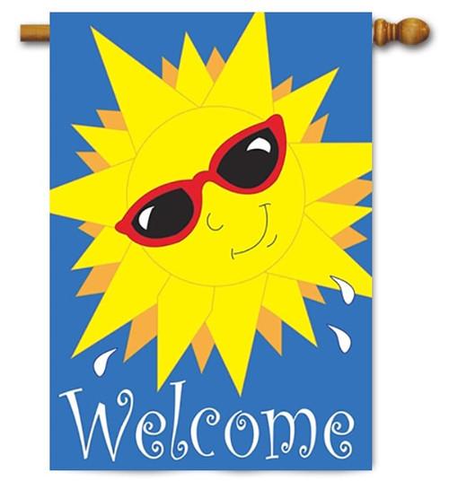 "Sun Welcome Double Applique House Flag - 29"" x 42"" - Magnolia Lane"