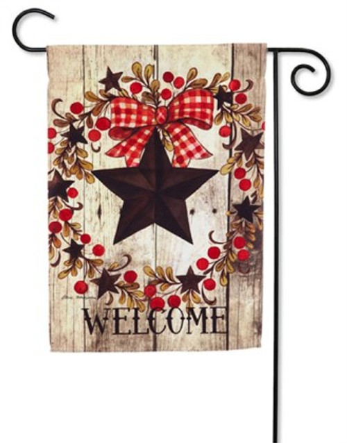 "Folk Country Star Garden Flag - 12.5"" x 18""  - Evergreen"