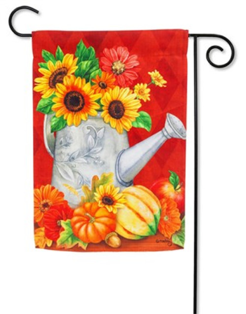 """Harvest and Sunflower Watering Can Garden Flag - 12.5"""" x 18"""" - Evergreen"""