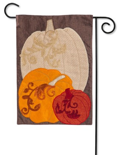 "Pumpkin Trio Linen Garden Flag - 12.5"" x 18"" - Evergreen"