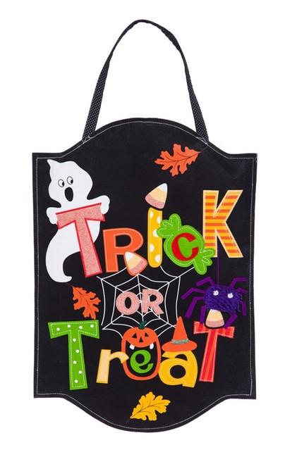 "Trick or Treat Felt Door Decor - 24"" x 14"" - Evergreen"