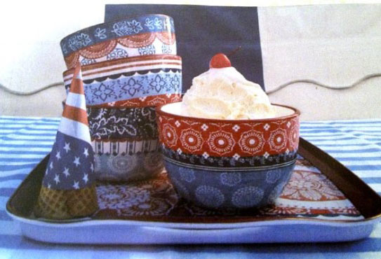 Jennifer Brinley's Americana ice cream bowls and tray at Macy's