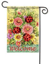 Ladybug Zinnias garden flag with real glitter