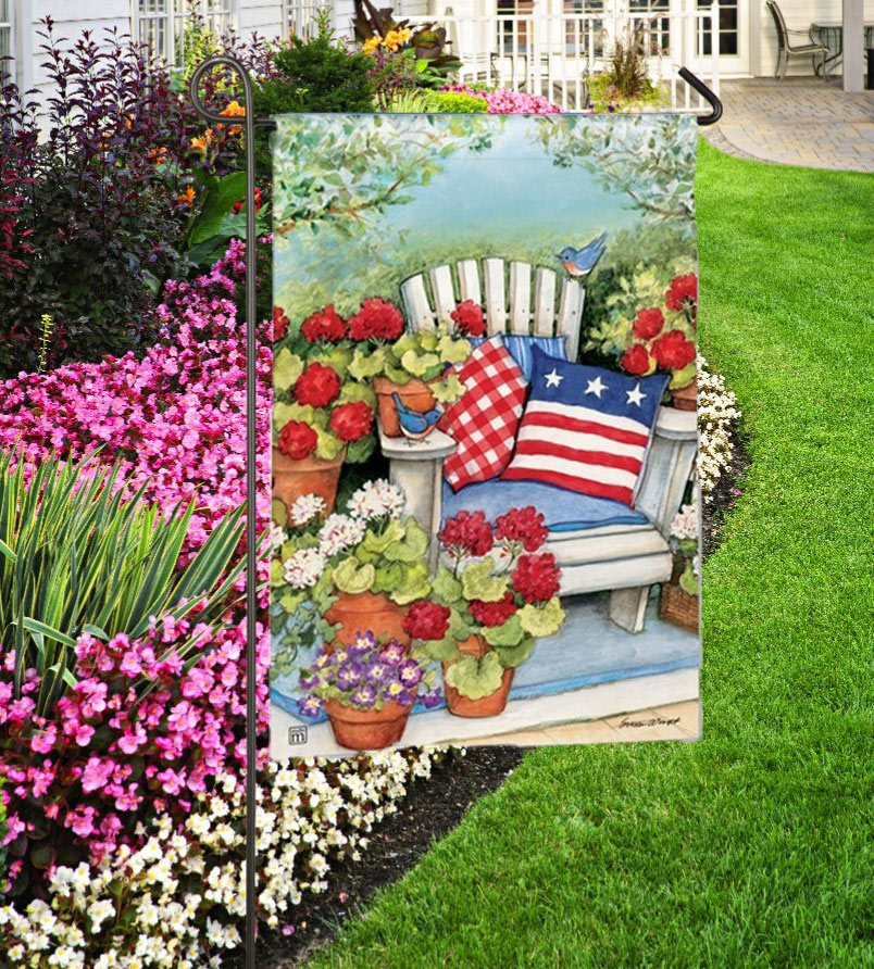 Patriotic Pillows Garden Flag by BreezeArt