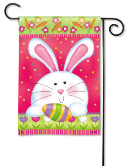 Cute Bunny and Egg Easter Garden Flag by Breeze Art