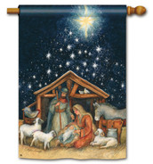 Holy Night BreezeArt Christmas House Flag - Nativity Flag