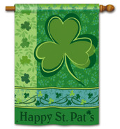 Shamrock Happy St. Pat's Holiday House Flag by BreezeArt