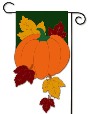 Fall Pumpkin with Falling Leaves Garden Flag