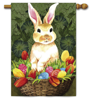 Evergreen Bunny With Basket House Flag