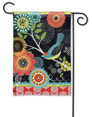 Bold Birds And Flowers Garden Flag by Jennifer Brinley