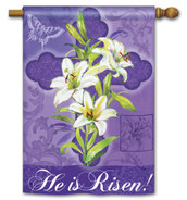 Lilies and Cross Easter House Flag by Breeze Art