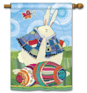 Bunny And Eggs BreezeArt House Flag