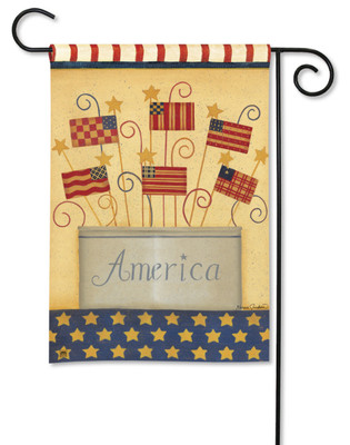Patriotic Garden Flag With American Flags by Breeze Art