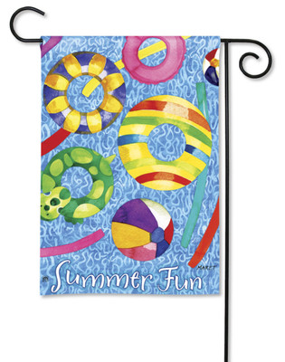 Colorful Pool Toys Garden Flag by Breeze Art