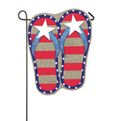 Patriotic flip flops garden flags