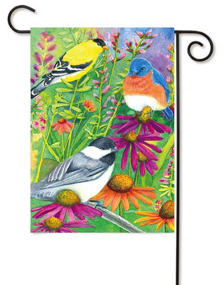 Garden flag with beautiful collection of birds.