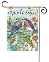 Bluebirds decorative garden flag