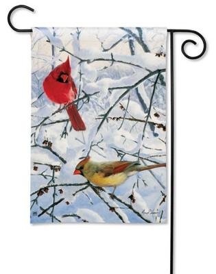 Cardinals winter garden flag