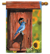 "Bluebird & House House Flag - 28"" x 40"" - 2 Sided Message"