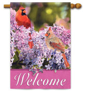 "Lilac & Cardinals House Flag - 28"" x 40"" - 2 Sided Message"